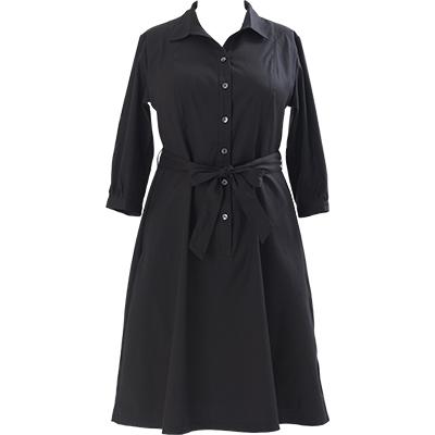 シャツワンピース7分袖 黒